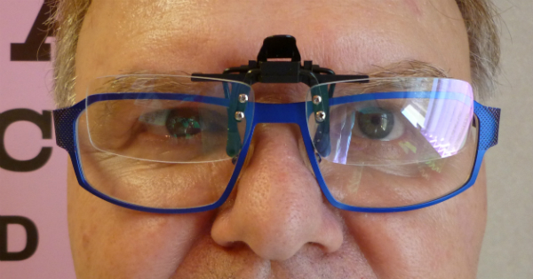 You can see the Clip-On is positioned at the top of the eyeglasses, so the bottom portion of the glasses can continue to be used for close reading.